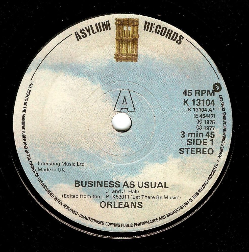 ORLEANS Business As Usual Vinyl Record 7 Inch Asylum 1977